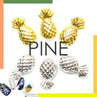 菠萝和松 [黄金和银金属螺柱水果尼尔钉钉配件