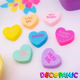 【B233】当店限定 ラメ付きミニハート デコパーツ DECOPANICアクセサリーパーツ ハンドメイド チャーム パーツ デコレーション カボション キャンディーハーツ