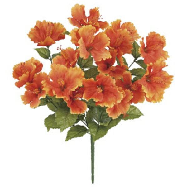 トロピカルハイビスカスブッシュ *16(オレンジ)【ハイビスカスの造花・アートフラワー】