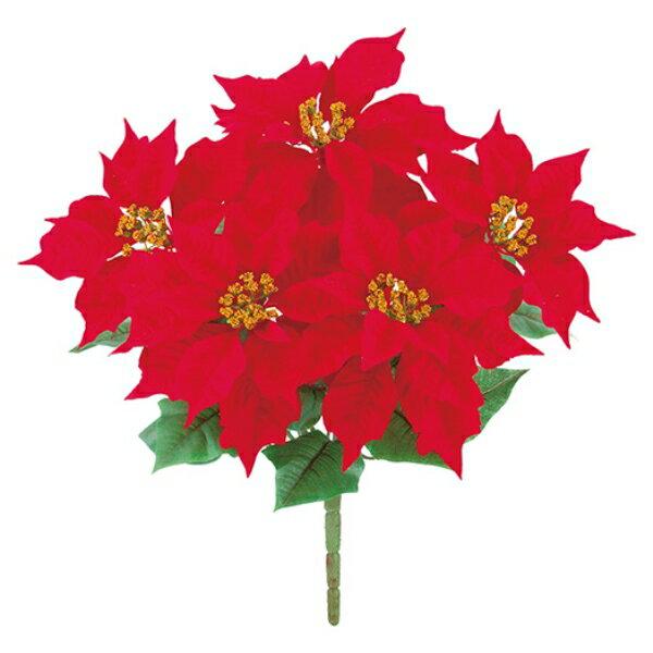 マイクロピーチポインセチアブッシュ x 5【ポインセチアの造花】