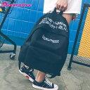 ストリートなメッセージロゴ刺繍入りのブラックカラーリュックサック/バックパック 原宿系 ファッション レディース …