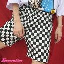 白×黒のチェッカーズフラッグ柄がオシャレなウエストゴムハーフパンツ 原宿系 ファッション レディース ゆめかわいい…