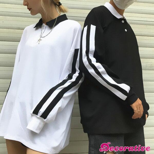 袖の2本のライン装飾がストリートスポーティなオーバーシルエット長袖ポロシャツ 原宿系 ファッション レディース ゆめかわいい 服 奇抜 派手 個性的 ダンス 衣装 コスチューム ヒップホップ 韓国 大きいサイズ 170829