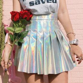 【即納あり】オーロラカラーがスペースちっくなエコレザーフレア&プリーツミニスカート 原宿系 ファッション レディース ゆめかわいい 服 奇抜 派手 個性的 ダンス 衣装 コスチューム ヒップホップ 韓国 大きいサイズ toriyose