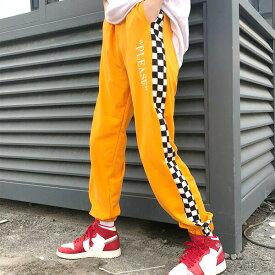 【即納あり】PLEASE刺繍&ブロックチェックサイド切り替えのジャージトラックパンツ 原宿系 ファッション レディース ゆめかわいい 服 奇抜 派手 個性的 ダンス 衣装 コスチューム ヒップホップ 韓国 大きいサイズ 190108