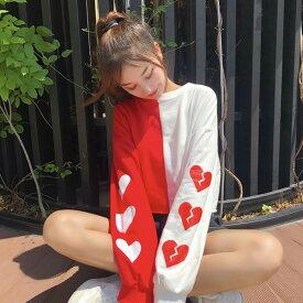 【即納あり】アシンメトリーカラー&ハートプリントのワイドシルエット長袖トップス 原宿系 ファッション レディース ゆめかわいい 服 奇抜 派手 個性的 ダンス 衣装 コスチューム ヒップホップ 韓国 大きいサイズ