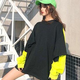 tシャツONtシャツが目を惹くビッグシルエット長袖カットソートップス 原宿系 ファッション レディース ゆめかわいい 服 奇抜 派手 個性的 ダンス 衣装 コスチューム ヒップホップ 韓国 大きいサイズ 180204