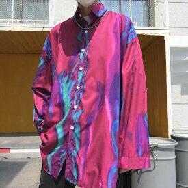 【即納あり】柄シャツ シャツ ブラウス 総柄 幾何柄 プリント カラフル パープル レッド モアレ ビッグシルエット 長袖 原宿系 ファッション レディース ゆめかわいい 服 奇抜 派手 個性的 ダンス 衣装 コスチューム ヒップホップ 韓国 大きいサイズ