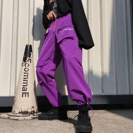 【即納あり】ボトムス カーゴパンツ マルチポケット テキスト ロゴ ウエストゴム スポーティ ユニセックス ダンス 衣装 ヒップホップ コスチューム 韓国 ファッション 大きいサイズ 個性的 服 原宿系【お取り寄せ注文可能】