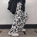 【即納あり】ダルメシアン柄 白黒 ワイドパンツ ウエストゴム ハイウエスト ストレート ボトムス ダンス 衣装 ヒップ…