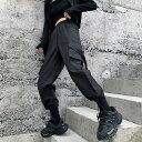 【即納あり】カーゴパンツ ベルト付きポケット 無地 裾ドロスト ストレート ウエストゴム ボトムス ダンス 衣装 ヒップホップ コスチューム 韓国ファッション 大きいサイズ 個性的 服 原宿系