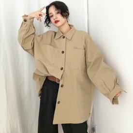シャツ ジャケット アウター 無地 ツイル生地 ビッグシルエット ベージュ ブラック ダンス 衣装 ヒップホップ コスチューム 韓国ファッション 大きいサイズ 個性的 服 原宿系