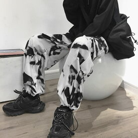 【即納あり】カーゴパンツ 総柄 裾ドロスト ストレート ワイド ウエストゴム ボトムス ダンス 衣装 ヒップホップ コスチューム 韓国ファッション 大きいサイズ 個性的 服 原宿系