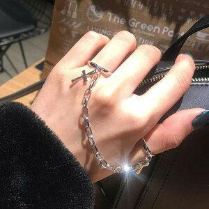 【即納あり】リング 十字架 クロス チェーン シルバー 指輪 アクセサリー ダンス 衣装 コスチューム 韓国ファッション 個性的 服 原宿系