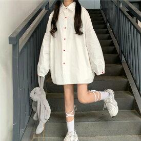 【即納あり】長袖シャツ ブラウス 無地 赤いボタン ビッグシルエット シンプル トップス ダンス 衣装 ヒップホップ コスチューム 韓国ファッション 大きいサイズ 個性的 服 原宿系