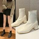 【即納あり】ショートブーツ スクエアトゥ チャンキーヒール 合成皮革 アイボリー ブラック ダンス 衣装 コスチューム 韓国ファッション 個性的 服 原宿系