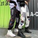 【即納あり】ジョガーパンツ グラフィカルロゴデザイン ハイウエスト 総柄 ボトムス ダンス 衣装 ヒップホップ コスチューム 韓国ファッション 大きいサイズ 個性的 服 原宿系