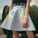 【即納あり】ミニスカート フレア ハイウエスト オーロラカラー キラキラ シルバー ダンス 衣装 ヒップホップ コスチューム 韓国ファッション 大きいサイズ 個性的 服 原宿系