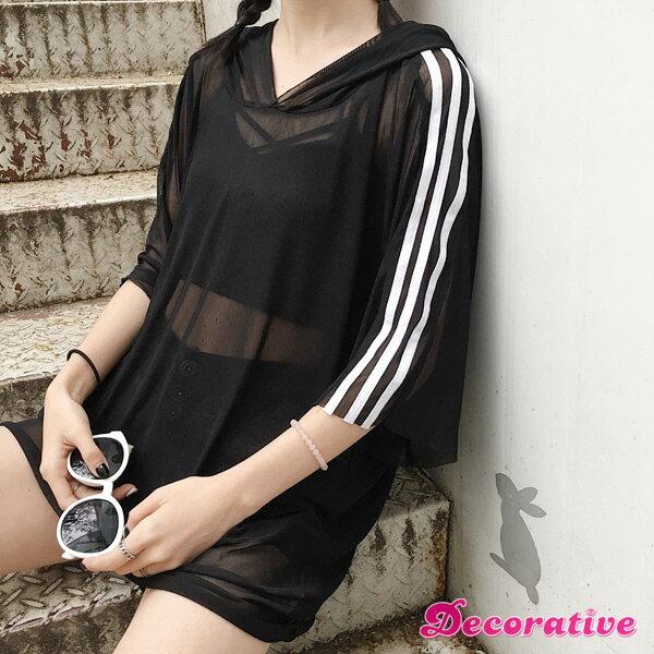 3本のホワイトラインがスポーティなネットチュール素材のビッグシルエット半袖パーカー 原宿系 ファッション レディース ゆめかわいい 服 奇抜 派手 個性的 ダンス 衣装 コスチューム ヒップホップ 韓国 大きいサイズ 170530