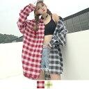 アシンメトリーチェックファブリック&リングデザインのビッグシルエット長袖シャツ 原宿系 ファッション レディース …