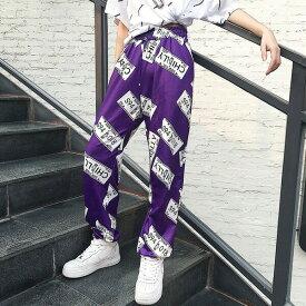【即納あり】ナンバープレートを散りばめた総柄プリントがコーデの主役になるジョガーパンツ 原宿系 ファッション レディース ゆめかわいい 服 奇抜 派手 個性的 ダンス 衣装 コスチューム ヒップホップ 韓国 大きいサイズ 180809