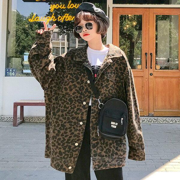 レオパードプリントがトレンド感のあるビッグシルエットデニムジャケット 原宿系 ファッション レディース ゆめかわいい 服 奇抜 派手 個性的 ダンス 衣装 コスチューム ヒップホップ 韓国 大きいサイズ 181030
