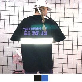 【即納あり】背中のリフレクターテープがトレンド先取りなオーバーシルエット半袖プリントTシャツ 原宿系 ファッション レディース ゆめかわいい 服 奇抜 派手 個性的 ダンス 衣装 コスチューム ヒップホップ 韓国 大きいサイズ 181031