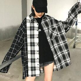 【即納あり】チェックシャツ アシンメトリー ビッグシルエット パッチワーク モノトーン 原宿系 ファッション レディース ゆめかわいい 服 奇抜 派手 個性的 ダンス 衣装 コスチューム ヒップホップ 韓国 大きいサイズ