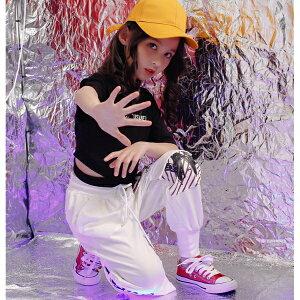 2点セット キッズ 上下セット セットアップ 長袖 カットソー フルレングス パンツ ワッペン ポケット バックデザイン ストリート ダンス 衣装 ヒップホップ 女の子 ジュニア 子供服 110 120 130