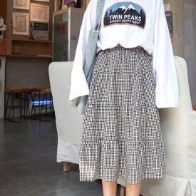 ギンガムチェック柄の4段ティアード膝下丈スカート 原宿系 ファッション レディース ゆめかわいい 服 奇抜 派手 個性的 ダンス 衣装 コスチューム ヒップホップ 韓国 大きいサイズ 180411