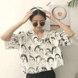 【即納あり】お顔がいっぱいの総柄プリントがシュールなビッグシルエットシャツブラウス 原宿系 ファッション レディース ゆめかわいい 服 奇抜 派手 個性的 ダンス 衣装 コスチューム ヒップホップ 韓国 大きいサイズ 180808