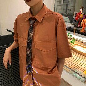 セットアップ シャツ ズボン ネクタイ 3点セット ホワイト オレンジ レディース ファッション 大きいサイズ ダンス 衣装 ヒップホップ 原宿系 韓国系 個性的 【お取り寄せ注文可能】