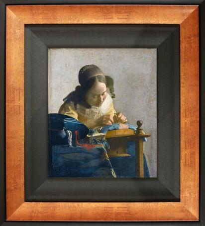 「レースを編む女」(フェルメール版画)【送料無料・額付き】フェルメール全作品ギフト・プレゼントに最適!絵画壁掛けアート