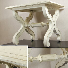 XLegエックスレッグサイドテーブル花台スモールテーブル中古スモールテーブル家具木製アメリカアンティーク雑貨ホワイトアイボリー