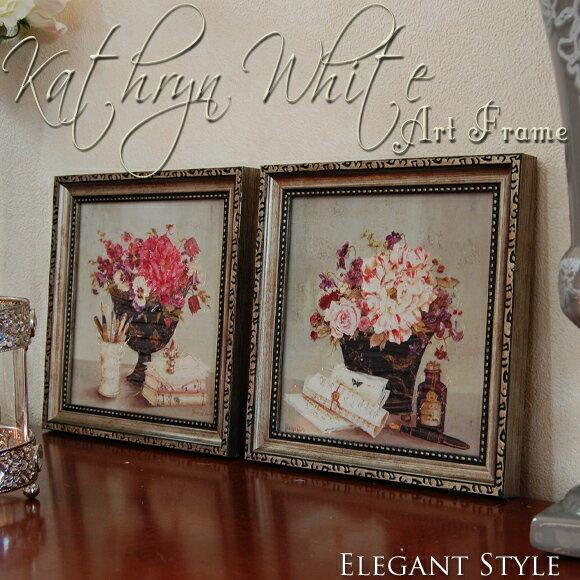 2種類から選べるアートフレーム キャサリンホワイト ミニゲル アンティーク 雑貨 アンティーク風 壁掛 ピンク グレー 壁飾り 絵画 洋画 おしゃれ 壁掛け 絵 額 ルドゥーテ 花 白 フラワー