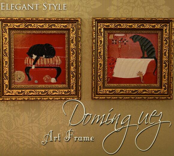 ネコのアートフレーム ドミンゲス ミニゲル アンティーク 雑貨 アンティーク風 壁飾り 壁掛け おしゃれ 赤 レッド 猫 ねこ 絵画 絵 洋画 玄関 インテリア 雑貨 オシャレ