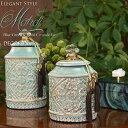 Mahdi マフディー Small ブルーグリーンの陶器ボックス タッセル付き 小物入れ ジャー ポッド 蓋付き 飾り壷 壺 収納 アン…
