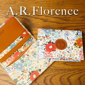 【あす楽】【イタリア・フィレンツェ】A.R.Florence(A.R.フローレンス)フラワー 名刺入れ(カードケース)【牛革/花柄】