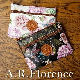 【あす楽】【イタリア・フィレンツェ】A.R.Florence(A.R.フローレンス)フラワーバード コイン&キーケース【牛革/花&鳥柄】