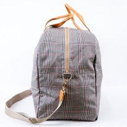 tsumorichisatoCARRY(ツモリチサトキャリー)/グレンチェック,ボストンバッグ,旅行バッグ,2泊用,コットン,綿,PVCコーティング,軽い,チェック,お洒落,ファスナー,可愛い