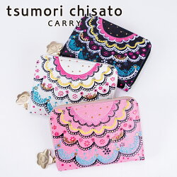 tsumori chisato CARRY(ツモリチサト キャリー)/スカラッププリント 2つ折り財布