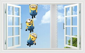 Minionsミニオンズ 3D 窓にぶら下がるミニオンズ シール 壁紙 インテリア雑貨 賃貸OK ウォールステッカー 60*90cm #753