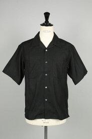 OPEN COLLAR SHORT SLEEVE SHIRTS - BLACK (SH-#402JQ) John Mason Smith(ジョン・メイソン・スミス)