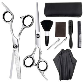 散髪セット 散髪 ヘアカット 10点 セット コーム すきバサミ カット ケープ クリップ ケース付 シザー