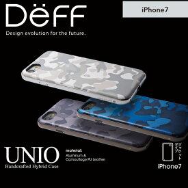 iPhone7 用 カモフラージュ柄 と アルミ を使った 耐衝撃 HYBRID ケース 「UNIO」バンパーケース スマホ ケース アルミバンパー 【送料無料】