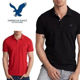 アメリカンイーグル 半袖 ワンポイント刺繍 ポロシャツ 鹿の子 黒 白 ネイビー 赤 グレー レッド ネイビー ブラック ホワイト S M L XL XXL XXXL 大きいサイズ メンズ あす楽 AMERICAN EAGLE