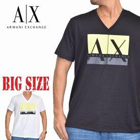 アルマーニエクスチェンジ A/X ARMANI EXCHANGE ロゴプリント Vネック 半袖Tシャツ SLIM FIT 白 黒 ブラック ホワイト XL XXL 大きいサイズ メンズ あす楽