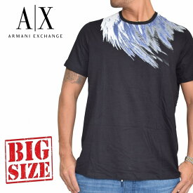 アルマーニエクスチェンジ A/X ARMANI EXCHANGE ロゴプリント クルーネック 半袖Tシャツ SLIM FIT 黒 ブラック XL XXL 大きいサイズ メンズ あす楽