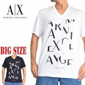 アルマーニエクスチェンジ A/X ARMANI EXCHANGE ロゴプリント Vネック 半袖Tシャツ REGULAR FIT 黒 白 XL XXL 大きいサイズ メンズ あす楽