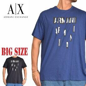 アルマーニエクスチェンジ A/X ARMANI EXCHANGE ロゴプリント Vネック 半袖Tシャツ REGULAR FIT 黒 青 XL XXL 大きいサイズ メンズ あす楽
